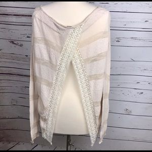 Free People Sweaters - Free People Knit Top with Lace Trim Split Back